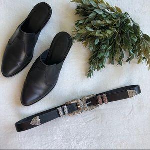 Black Double Buckle Silver Western Style Belt